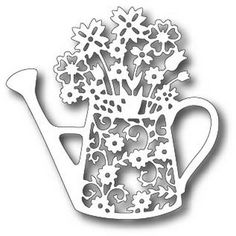 Tutti Designs - Cutting Die - Floral Watering Can Art Template, Templates Printable Free, Craft Stick Crafts, Paper Crafts, Farm Animal Crafts, Cushion Cover Designs, Cnc Projects, Kirigami, Watering Can