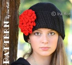 Paris Rose Beanie ~ classy & sophisticated ~ add style to any outfit ~ use only a few skeins of yarn ~ the applique flower adds flair ~ FREE - CROCHET
