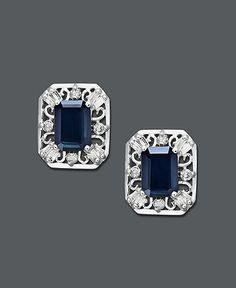 14k White Gold Earrings, Emerald Cut Sapphire (2-1/3 ct. t.w.) and Diamond (1/3 ct. t.w.) Stud Earrings