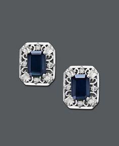 14k White Gold Earrings, Emerald Cut Sapphire (2-1/3 ct. t.w.) and Diamond (1/3 ct. t.w.) Stud Earrings