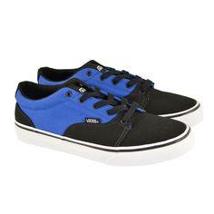 #Zapatillas de lona bicolor azul-negro con cordones y suelas e goma blancas modelo Y Kress de VANS.