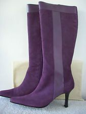 TERRY LEWIS Boots 7.5M Plum Purple Suede & Leather NWOB With Dust Bag