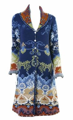 Want! IVKO Woman's Jacquard Wool Renaissance Pattern Coat Style 32530 039 in Navy Blue