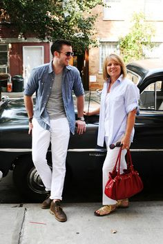 White Trousers + Denim Shirt + Gray T + Brown Shoes