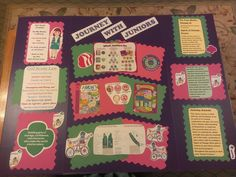 Purple Fold out Presentation Board with all basic Girl Scout Junior info on it-  Has info and graphics on  Leadership; Girl's Guides & Journeys; Promise/Law; Basic Program Info on  Juniors; and the Basic Badges & Uniforms!