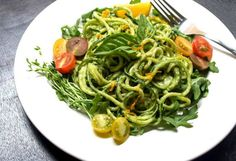 Lighter Vegan Versions of Your Favorite Dishes. Tons of Vegan recipes. Pictured: Raw Zucchini Pasta with Creamy Avocado-Cucumber Sauce.
