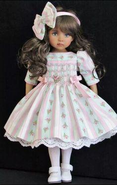 Handmade smocked dress and sweater set made for Effner Little Darling dolls