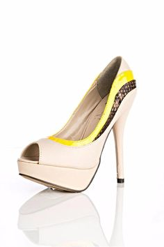 Beige/Yellow faux leather rubber pump.    Platform heel height: 5.5in   Clora Pumps by Free Love Boutique. Shoes - Pumps & Heels - Pumps Delray Beach, Florida