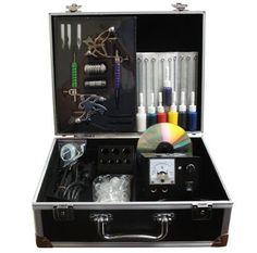http://stansmarketing.com/brand-new-2012-model-2-guns-super-tattoo-ink-kit-complete/ PRODUCT FEATURES     1 Top quality deluxe carrying case 2 Professional tattoo machines for liner & shader  2 stainless steel tubes  2 chromatic alloy tubes  7 different size stainless steel tips 1 great quality power supply.(110/240V) 1 Foot switch  1 power cord  50 pre made sterile tattoo needles  1 ink holder  100 ink cup  50 rubber bands  50 rubber rings  50 g...