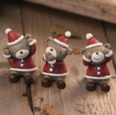 christmas bear decoration christmas gift for home resin ornament crafts ornaments free shipping 3pc/set