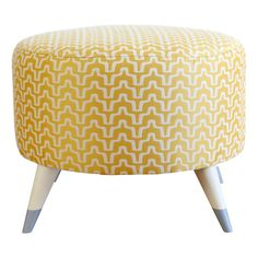 Mid-Century Inspired Yellow Spool Ottoman. One of my babies!!