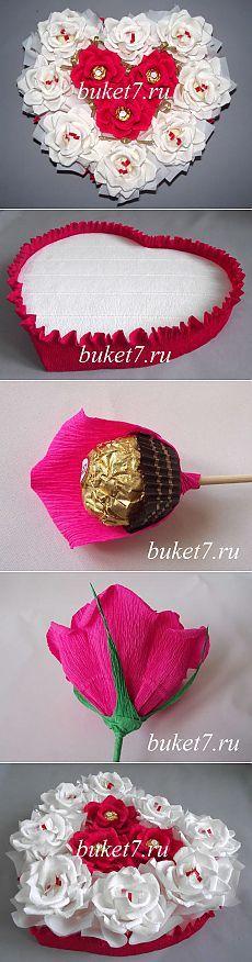 Сердце из конфет ко Дню Святого Валентина – мастер-класс.