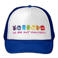 We are not monsters mesh hats lgbt, gay, lesbian, rainbow, fuku, queer, love is love, pride, marriage, equality, equal, rights, bisexual, tolerance, gender, gay bear, woof, oldschool, vintage, couple, lesbro,