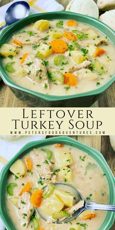 Leftover Turkey Soup with Bacon - Peter's Food Adventures Pork Recipes For Dinner, Best Soup Recipes, Chowder Recipes, Leftovers Recipes, Favorite Recipes, Healthy Recipes, Turkey Soup From Carcass, Leftover Turkey Soup, Christmas Recipes