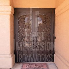 Barcelona French Iron Security Door from First Impression Ironworks in Arizona. Beauty and security. Wrought Iron Doors, Decorative Screens, Entry Doors, Front Entry, Front Entrances, Iron Gates, Steel Doors, House Colors, Curb Appeal