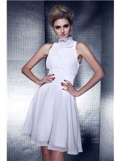 Graceful Flowers A-Line High-Neck Knee-Length Dasha's Bridesmaid Dress