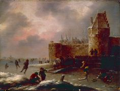 "Klaes Molenaer (Dutch, 1630-1676), ""Winter Landscape with Skaters,"" about 1660; Indianapolis Museum of Art, James E. Roberts Fund, 68.1.2"