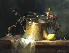 Bittersweet Copper and Lemon by Kelli Folsom Oil ~ 11 x 14 Painting Still Life, Still Life Art, Fruit Painting, Knife Painting, Scenery Paintings, Vanitas, Global Art, Acrylic Art, Contemporary Art