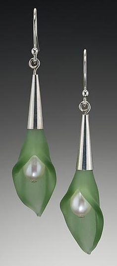 Color Calla Lily Earrings: Eloise Cotton: Glass, Silver, & Pearl Earrings - Artful Home