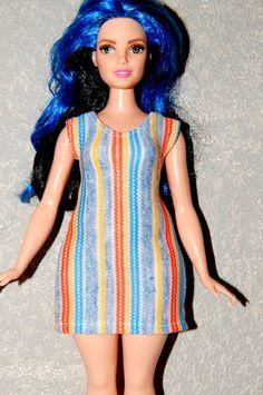 Curvy Barbie Blue stripe Short Dress A4B139 fashionista fashion doll clothes