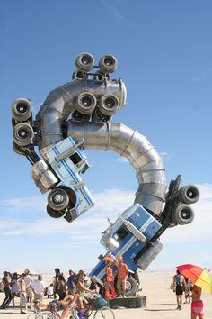 Burning Man Semi Truck Sculpture.