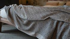 Monochrome Cotton Rich Bedspread | Diamond | Natural Bed Company Monochrome Bedroom, Bedroom Black, Bed Company, Black Thread, Bedspread, Diamond Pattern, Natural, Cotton, House