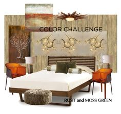 """Color Challenge: Moss Green and Rust"" by neicy-i ❤ liked on Polyvore featuring interior, interiors, interior design, home, home decor, interior decorating, York Wallcoverings, Kartell, Global Views and Uttermost"