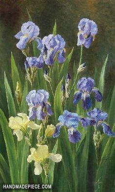Iris by Anthonie Eleonore (Anthonore) Christensen (Danish, oil on canvas, 60 x 37 cm Iris Painting, Oil Painting Flowers, Painting & Drawing, Art Floral, Flower Images, Flower Art, Iris Art, Purple Iris, Tile Murals