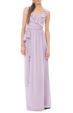Main Image - Ceremony by Joanna August 'Lacey' Ruffle Wrap Chiffon Gown