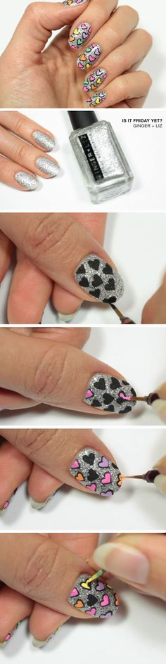 Glitter & Hearts | 15 Easy Valentines Day Nail Designs for Short Nails | DIY Nail Art Ideas for Spring