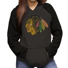 Chicago Blackhawks Women's Pullover Two-Tone Hoodie by Original Retro Brand  #ChicagoBlackhawks