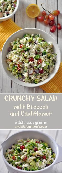 Crunchy, healthy and delicious combination of broccoli, cauliflower, cucumber, grapes and onion. Everything is tossed with a splash of lemon and mayonnaise. This salad is a hit at any gathering. Grape Recipes, Light Recipes, Savory Salads, Healthy Salad Recipes, Broccoli Salad, Broccoli Cauliflower, Grape Salad, Delicious Dinner Recipes, Side Salad