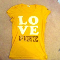 PINK distressed text tee Like new. Barely worn PINK Victoria's Secret Tops Tees - Short Sleeve