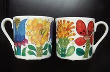 Gustavsberg Sweden Vintage and Rare TAHITI Stig Lindberg Two cups w/Saucers