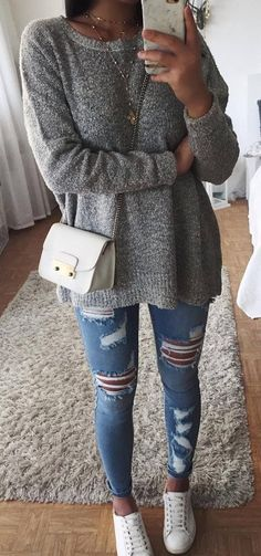 casual style obsession sweater   bag   sneakers   ripped jeans