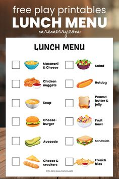 Play restaurant with our free restaurant menus. Laminate and turn it into a toy that will last. Use a dry erase marker and take orders! Breafast menu, lunch menu and dinner menu available. #playkitchen #playrestaurant #indooractivities #kindergartenactivities #preschoolactivities Lunch Menu, Breakfast Lunch Dinner, Dinner Menu, Cheese Fruit, Cheese Salad, Free Activities For Kids, Indoor Activities, Peanut Butter Soup, Kids Restaurants