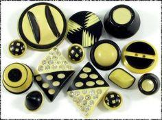 14 Vintage Celluloid Buttons - Black & Cream Combinations, incl Rhinestone, Deco