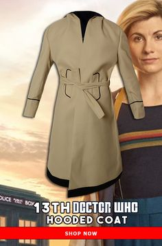 Grab this pleasing In Light Color . Coat Will Give you an incredible Appearance when you Will Wear it . Doctor Who Shop, 13th Doctor, Hooded Trench Coat, Hoods, Shop Now, The Incredibles, Lifestyle, How To Wear, Jackets