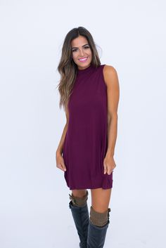 Maroon Mock Neck Dress - Dottie Couture Boutique