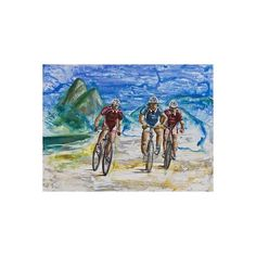 NOVICA Signed Oil Impressionist Painting of Cyclists from Brazil ($430) ❤ liked on Polyvore featuring home, home decor, wall art, blue, impressionist paintings, paintings, beach scene oil paintings, blue painting, scenery painting and beach wall art