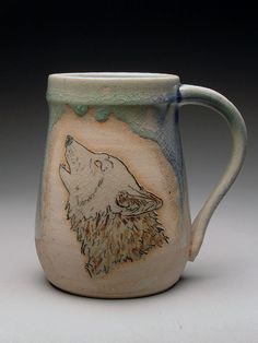 Lori Buff Howling Wolf Head Stein at MudFire Gallery
