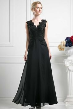 Evening Dress CDCH1504. A-Line Full Length Evening Dress with Floral Lace Bodice has V Neck and Open V Back featuring Zipper Closure, Softly Gathered Long Chiffon Skirt. https://www.smcfashion.com/wholesale-evening-dresses/evening-dress-cdch1504