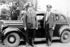 two uniformed officer standing beside 1936 police car, Nashville PD Police Radio, Old Police Cars, Police Uniforms, Ham Radio, Sheriff, Nashville, Crime, People, Vintage