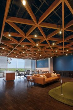 NN, Inc. at Waverly Hub Charlotte, NC Like the ceiling- maybe over the coffee bar or in the open space outside of the stairs? Commercial Interior Design, Office Interior Design, Interior Exterior, Commercial Interiors, Office Ceiling Design, Wooden Ceiling Design, Wooden Ceilings, Corporate Interiors, Office Interiors