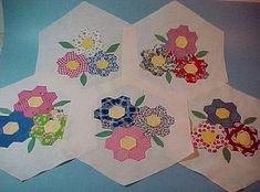 Unusual Set 30 Antique Grandma's Flower Garden Quilt Blocks 1930s Applique NR | eBay, dixiequilter