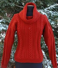 Free Pattern: Cowl Neck Sweater with Cables