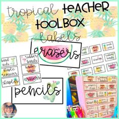 I am OBSESSED with my teacher tool box - every since I made it last year, it's been such a hit! These are a tropical theme set of toolbox labels for your teacher toolbox! The labels fit both the large drawers and small drawers! :) There is also an editable document included to create your