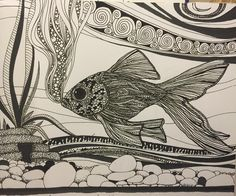 From one of my sketchbooks from 1998! I wish I still had time to draw like this! #sketch #sketching #doodle #drawing #draw #ink #goldfish #sketchbook