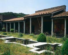 *POMPEII, ITALY ~ The Portico of Villa of Giulia Felice, Pompeii (UNESCO World Heritage List, 1997), Campania. Roman Civilization, 1st Century.