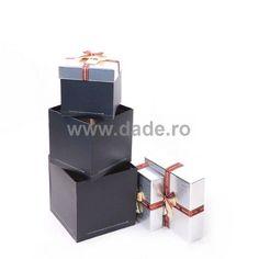 Set 4 cutii de cadou argintii-big Container
